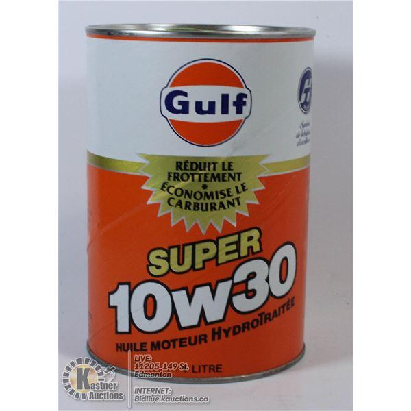 GULF PREMIUM 10W30 HYDROTREATED MOTOR OIL.