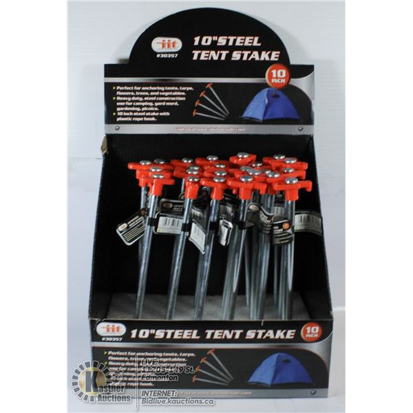 """RETAIL BOX OF 10"""" STEEL TENT SPIKES."""