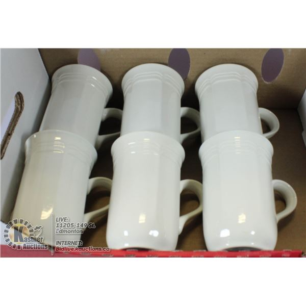 LOT OF 6 VINTAGE WHITE MISAKA COFFEE CUPS