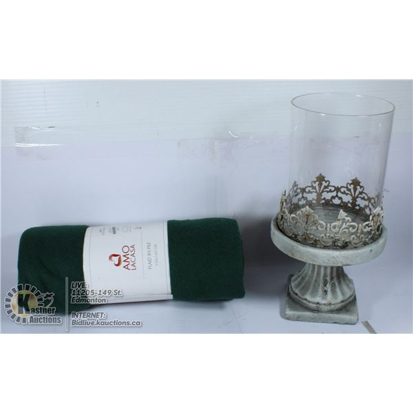 LOT OF NEW BLANKET & GLASS PILLAR CANDLE HOLDER