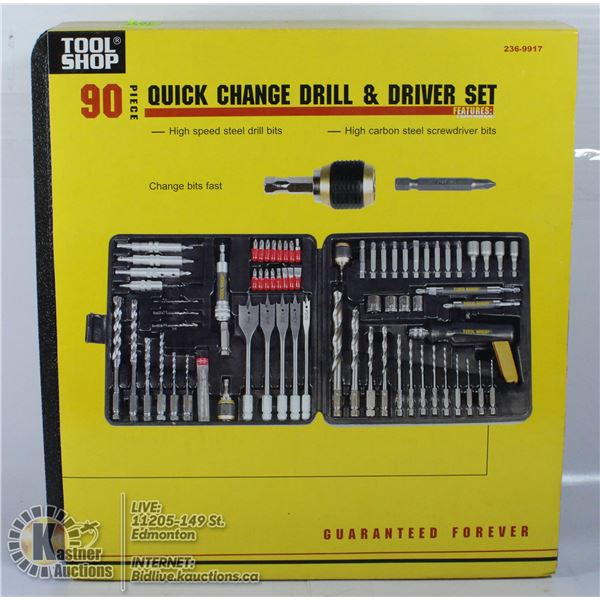 TOOL SHOP 90 PC QUICK CHANGE DRILL AND DRIVER SET.