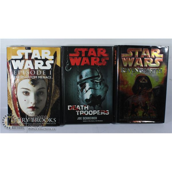 LOT OF 3 STAR WARS HARD COVER BOOKS.
