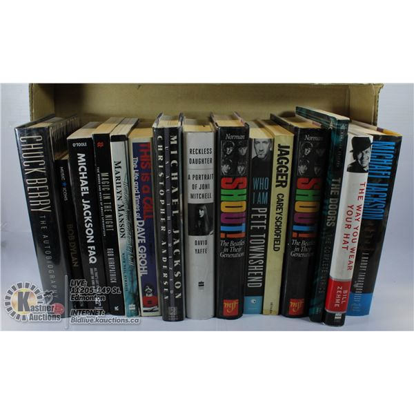 LARGE FLAT OF HARDCOVER BOOKS: MUSICIANS