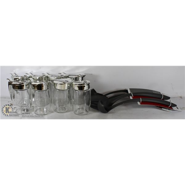 FLAT OF NEW RESTERAUNT WARE UTENSILS AND MORE