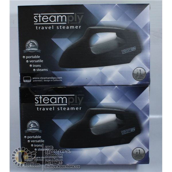 LOT OF 2 NEW STEAMPLY TRAVEL STEAMERS. BLACK.