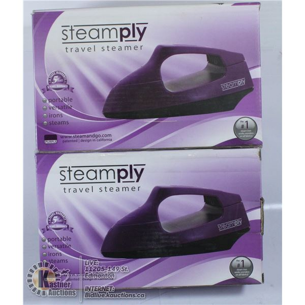 LOT OF 2 NEW STEAMPLY TRAVEL STEAMERS. PURPLE.