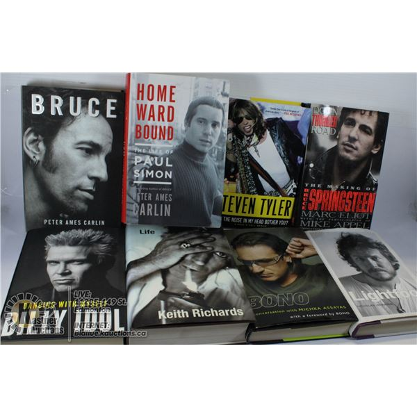 FLAT OF HARDCOVER MUSIC ARTIST BOOKS, INCLUDES