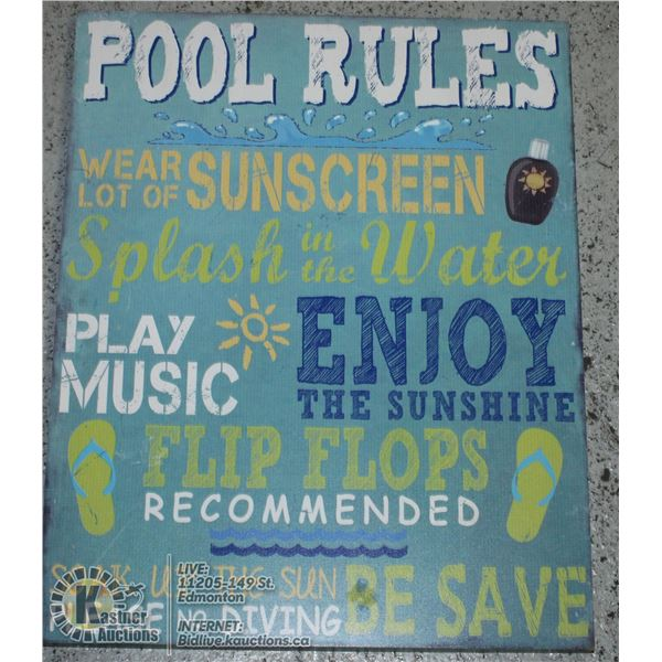 """MAINSTAYS WOODEN HANGING WALL ART """"POOL RULES"""""""