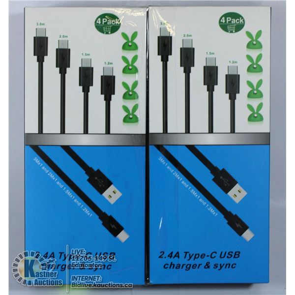 LOT OF 2 2.4A TYPE C USB CHARGER AND SYNC CABLES.
