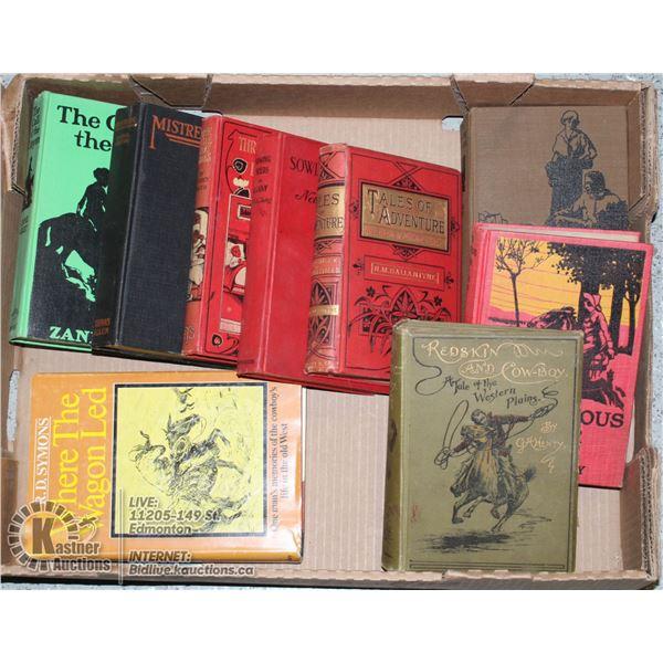 FLAT OF VINTAGE HARDCOVER BOOKS.