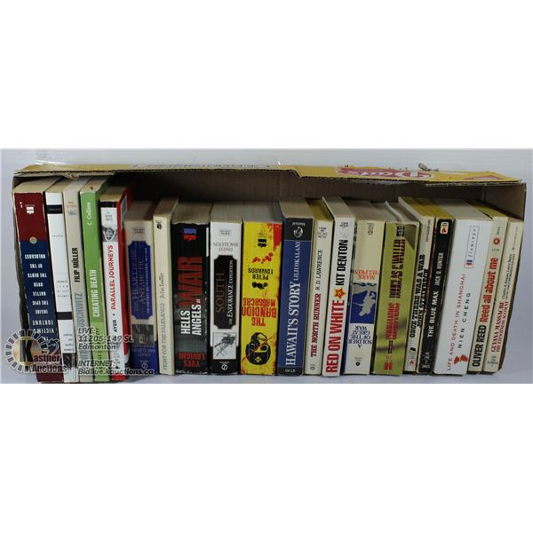 FLAT OF SOFT COVER BOOKS, INCLUDES AUSCHWITZ NOVEL