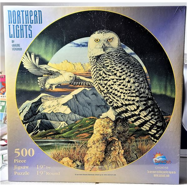 """10)  14"""" ROUND, 500 PCE VINTAGE PUZZLE OF OWLS,"""