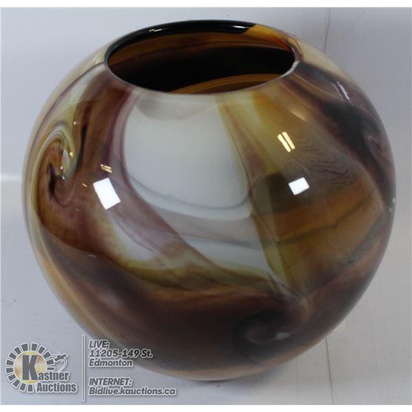 BROWN SWIRLED ART GLASS VASE