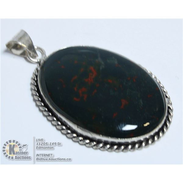 #184- NATURAL BLOODS STONE PENDANT