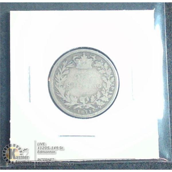 1871 VICTORIAN GREAT BRITAIN SILVER SHILLING