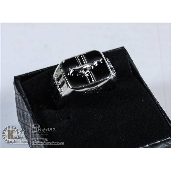 925 STERLING SILVER FORD MUSTANG MENS RING SIZE 11