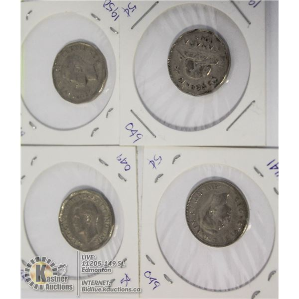 4 CANADIAN NICKLES, 1941, 1946, 1949,1950