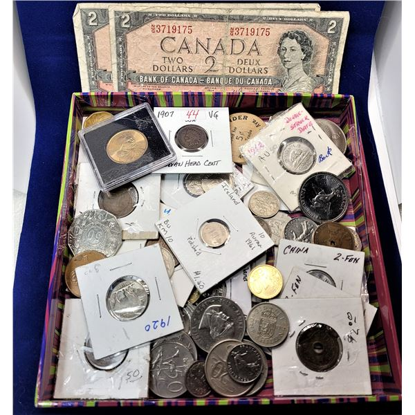 16)  LOT OF 45 WORLD COINS AND 2 - 1954 CANADIAN