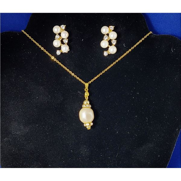 4)  GOLD TON, PEARL AND CLEAR CZ PENDANT ON