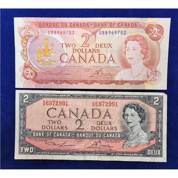 14)  LOT OF 2 CANADIAN $2.00 BANKNOTES, 1954
