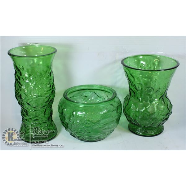 LOT OF 3 VINTAGE GREEN GLASSWARE VASES