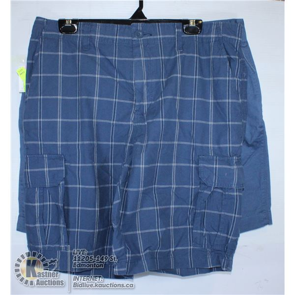 2 PAIRS OFSHORTS SIZE 36  BLUE AND BLUE PLAID