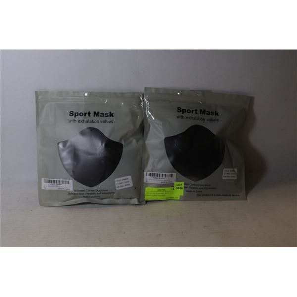 TWO SPORTS MASKS WITH EXHALATION VALVES