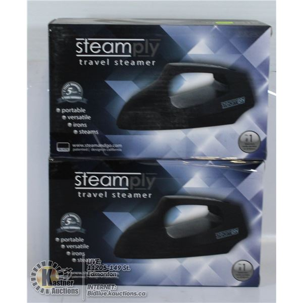 LOT OF 2 STEAMPLY TRAVEL STEAMERS. BLACK.