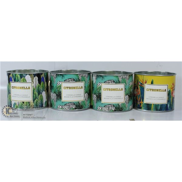 LOT OF 4 CITRONELLA CANDLES 140G EACH.
