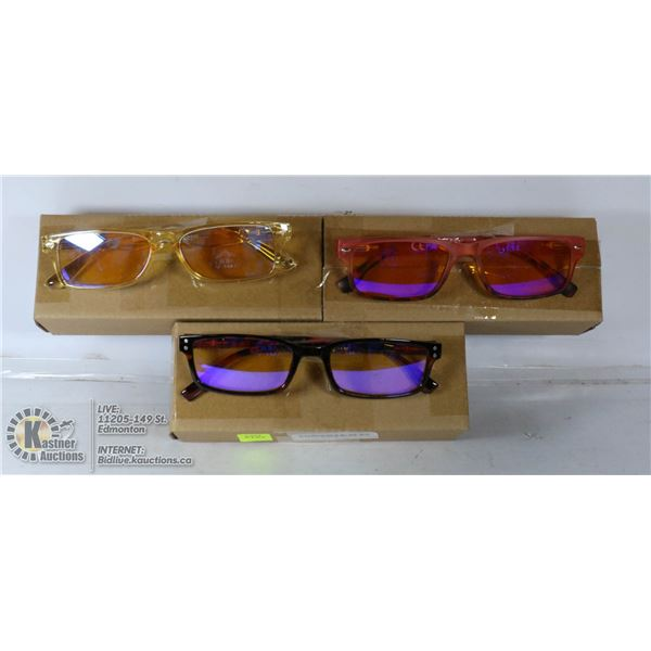 LOT OF 3 TRANSITIONAL READING GLASSES. +1.