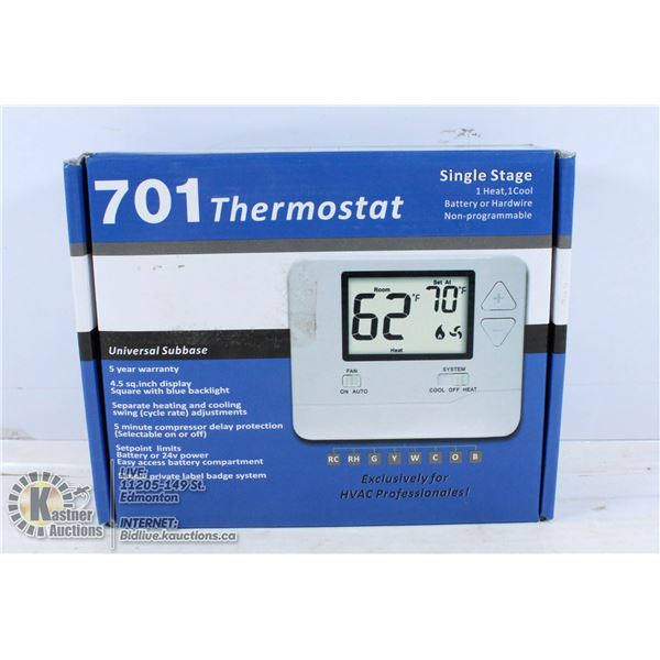 701 THERMOSTAT SINGLE STAGE. NON PROGRAMMABLE