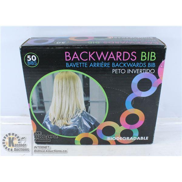 BIODEGRADEABLE BACKWARDS BIB FOR HAIR CUTTING.