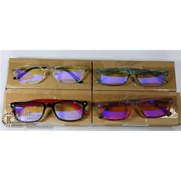 LOT OF 4 TRANSITIONAL READING GLASSES. +1.5