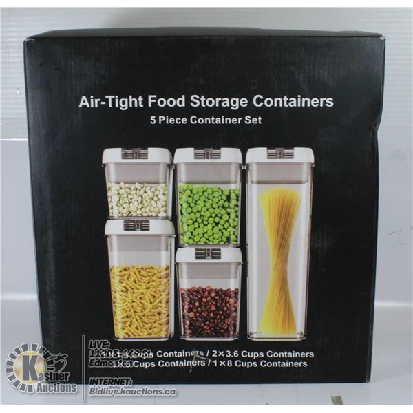 AIR TIGHT FOOD STORAGE CONTAINERS 5 PIECE SET