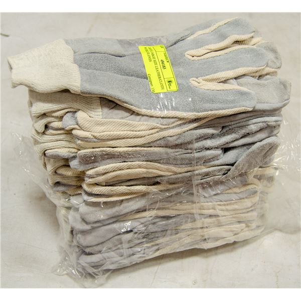 24PCS LARGE SIZE LEATHER/CLOTH WORK GLOVES