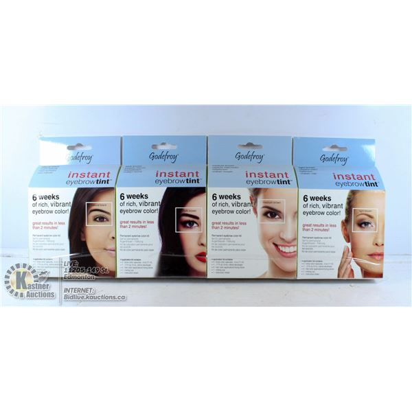 LOT OF 4 GODEFROY INSTANT EYEBROW TINT KIT