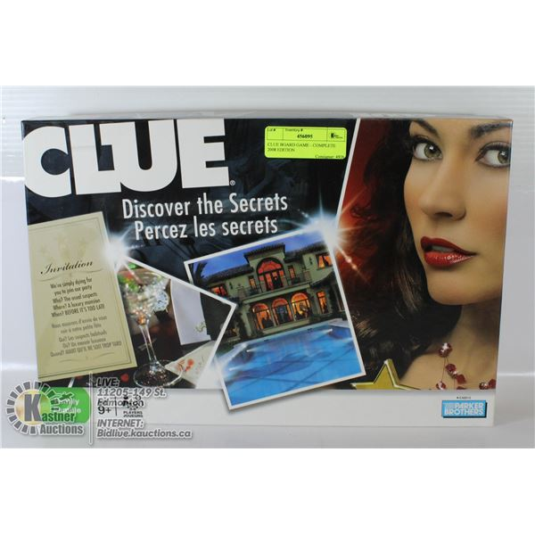 CLUE BOARD GAME - COMPLETE 2008 EDITION