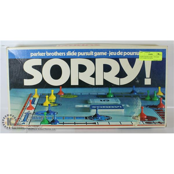 SORRY BOARD GAME - VINTAGE 1972 COMPLETE WITH