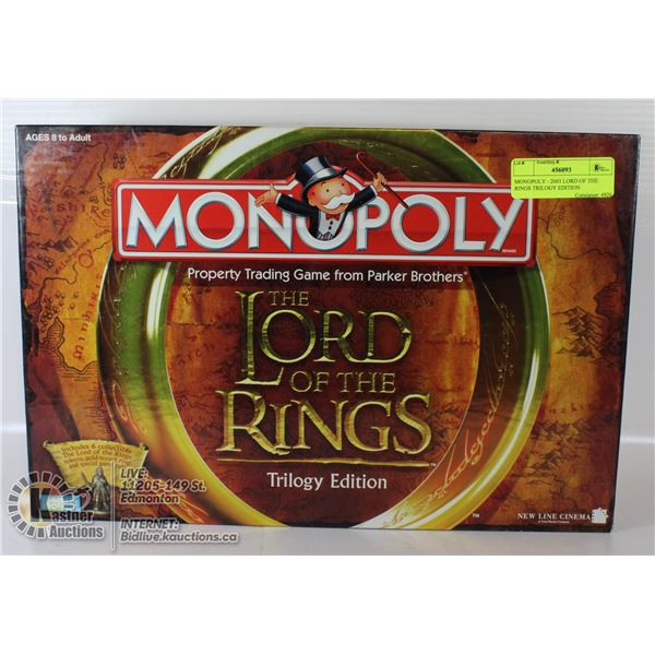 MONOPOLY - 2003 LORD OF THE RINGS TRILOGY EDITION