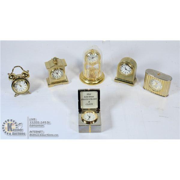 BOX OF MINI BRASS CLOCKS