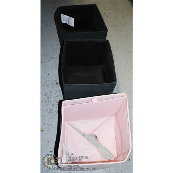 IKEA BLACK & PINK STORAGE CUBE COLAPPSIBLE BOXES