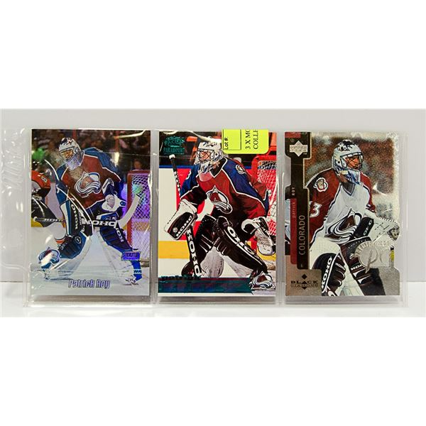 3 X PATRICK ROY CARDS NHL COLLECTION INSERTS