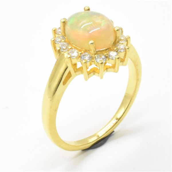 EC83 GOLD PLATED SIL OPAL CZ RING