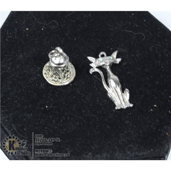PAIR OF VINTAGE 925 STERLING SILVER CHARMS