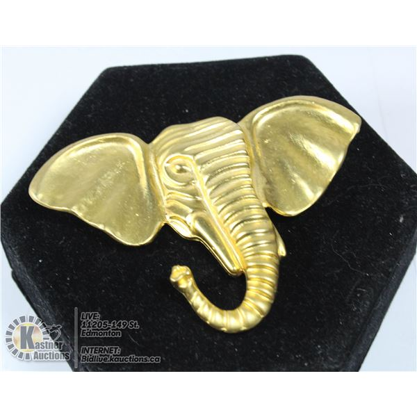 LARGE NEW GOLDTONE ELEPHANT BROOCH