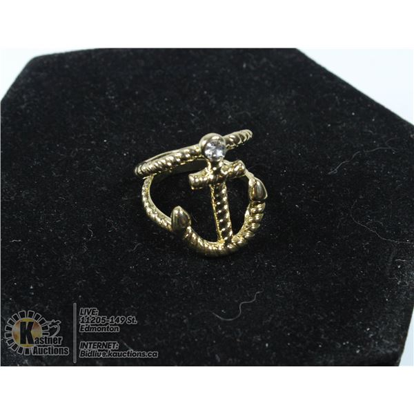 GOLDTONE DUAL ANCHOR RING