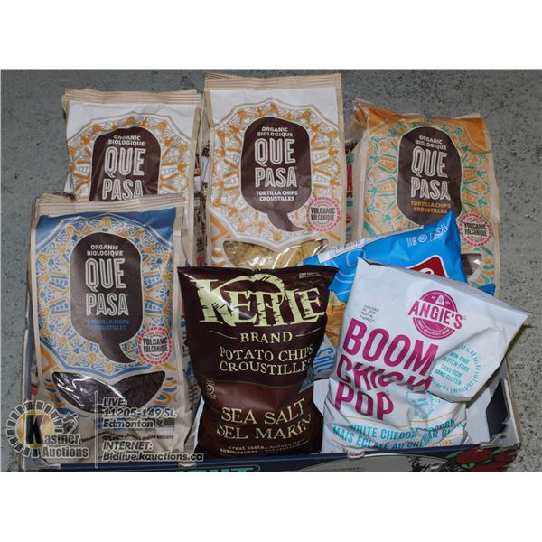 FLAT OF ANGIES, KETTLE BRAND, QUE PASA AND COVERED