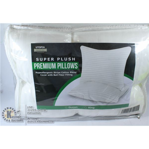 SUPER PLUSH PREMIUM PILLOWS 2 PACK KING SIZE
