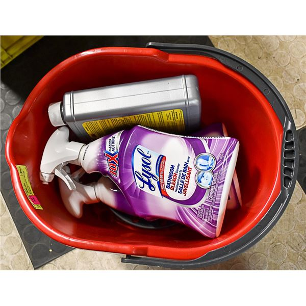 BRAND NEW MOP BUCKET WITH CLEANING SUPPLIES