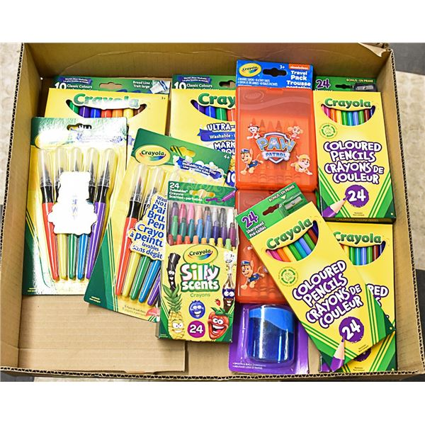 FLAT LOT OF CRAYOLA  BRAND PRODUCTS